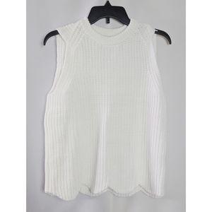 J. Crew White Knit Cotton Blend Scallop Hem Top S